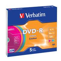 Verbatim DVD-R/4.7GB 16xspd Colour 5pk SlimCase PLU900297