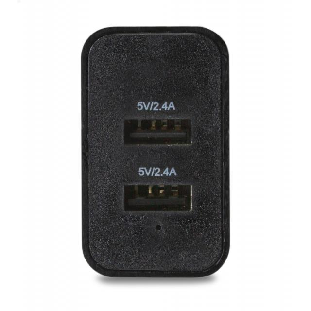 Smart Travel Charger Dual USB 4.8A Black