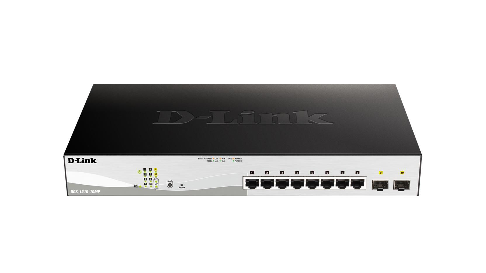 D-Link DGS-1210-10MP 8-poorts POE Managed Gigabit netwerk