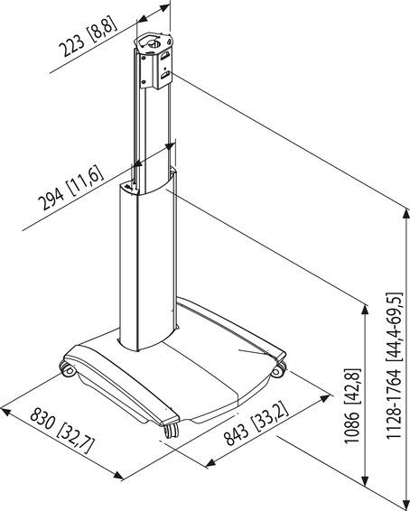 PFT 2510 DISPLAY TROLLEY HEIGHT ADJUSTABLE
