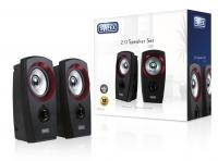 Sweex 2.0 Speaker Set USB Black/Red, USB Powered